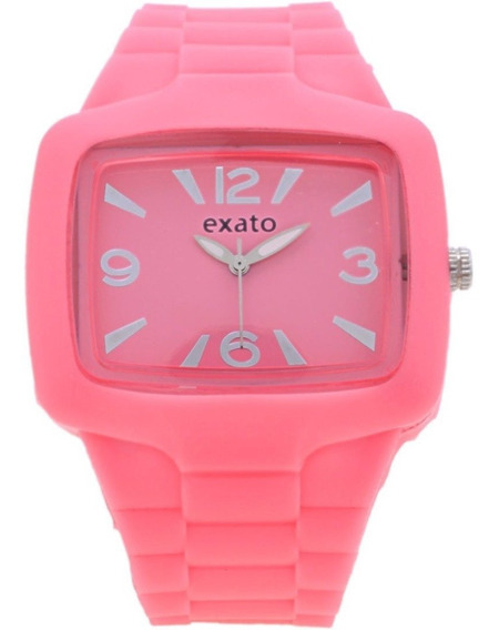 Relógio Feminino Prata Barato Original Exato Rosa Silicone