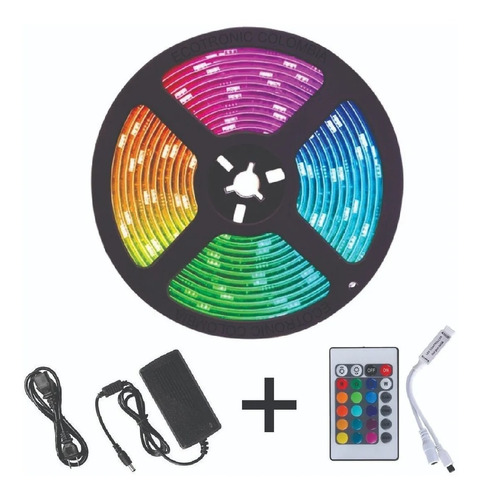 Luz Led Multicolor Rgb Luz 5mts + Control + Adaptador