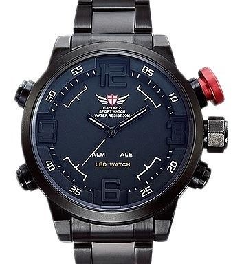 Relógio Masculino Militar Epozz Quartz Digital Led Dual Detalhe Vermelho Frete Grátis
