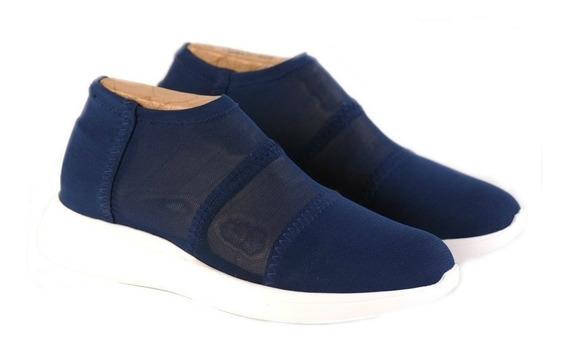 Zapatillas Elastizadas Doblele Airy Mujer Comodas Marino