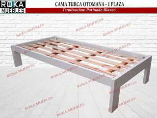 Cama Turca Otomana De 1 Plaza Patinado De Blanco