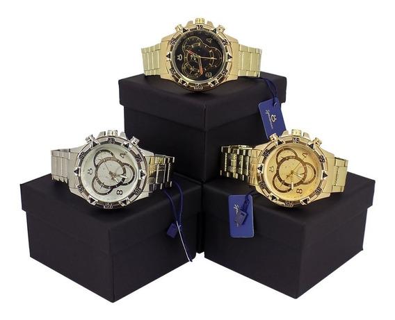 Kit Com 3 Relógios Spaceman Prata E Dourado Original C/ Nf