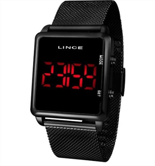 Kit Relógio Lince/orient Digital Quadrado Preto + Corr + Bri