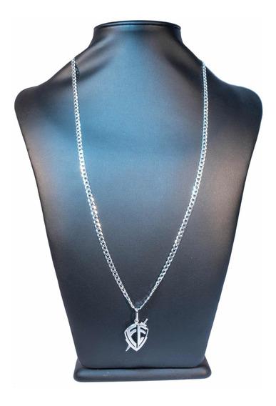 Cordão Escama Peixe Prata 925 Pingente Fé Escudo Luxo