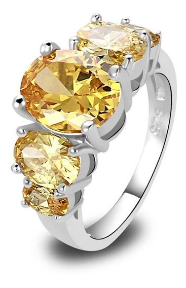 Elegante Anillo Plata 925 Dama Amarillo Citrina Zirconia A01