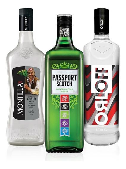 Kit Vodka Orloff 1l + Whsiky Passport 1l + Rum Montilla 1l