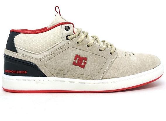 Tênis Dc Shoes Cole Signature Mid Couro Creme E Vermelho