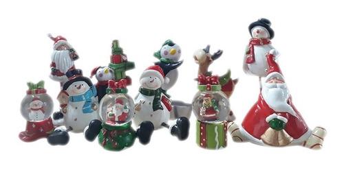 Set 11 Figuras Decorativas Articulos Navideños Ceramica