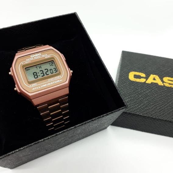Relógio Cassio A168 Rose Fosco Aço Inoxidável Feminino 2019