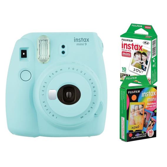 Câmera Instantânea Fujifilm Instax Mini 9 Azul Aqua + 2 Pack
