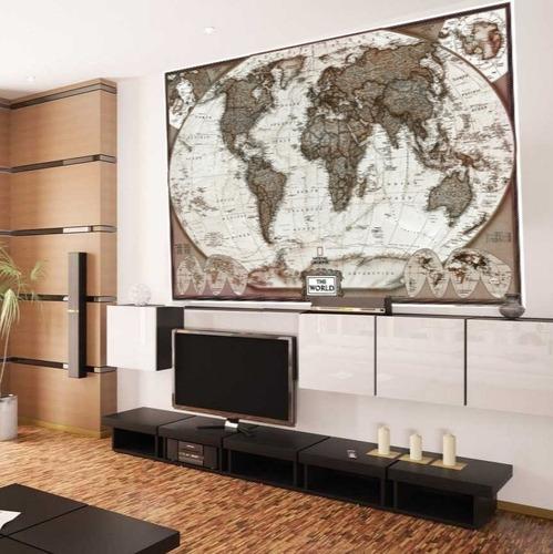 Mapa Mundi Atual Estilo Envelhecido 65x100cm Pra Decorar