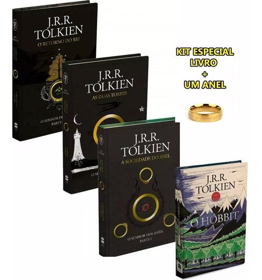 Livro Senhor Dos Aneis 3 Livros + O Hobbit + Brinde