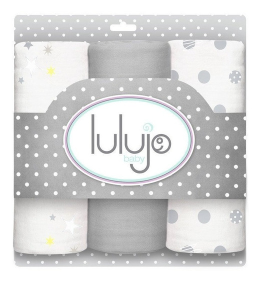 Paquete 3 Swaddles - Grises Lulujo