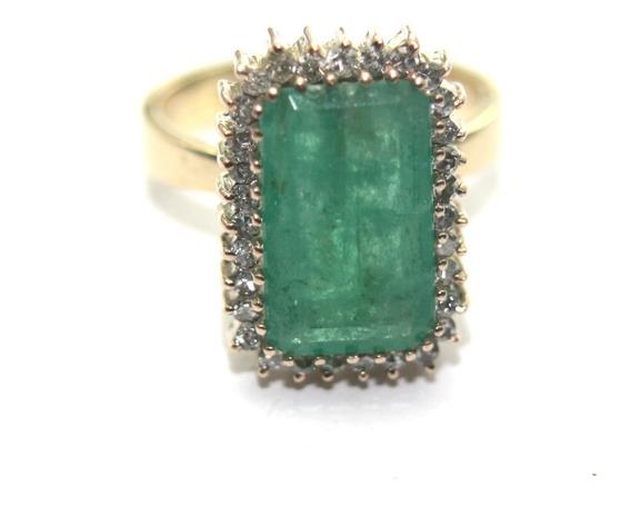 Anel Cravejado Diamante Imponente Esmeralda Ouro 18k D693