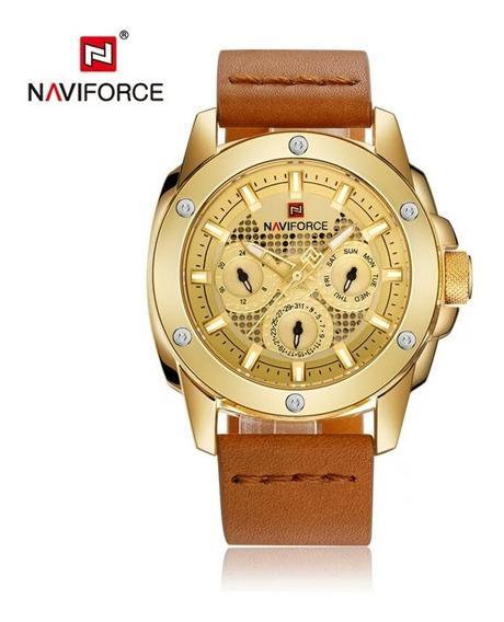 Relógio Naviforce 9116 Luxo À Prova Água Moda Esporte Couro