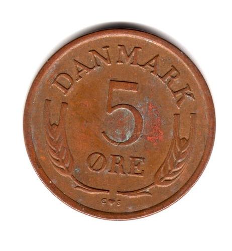 Moneda Dinamarca 5 Ore 1960 Km#848.1