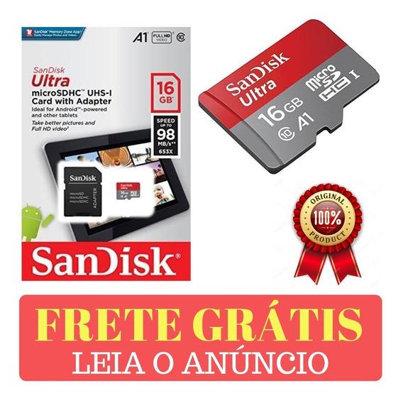 2x Cartão Memória 16gb Sandisk Micro Sd Ultra A1 C 10 98mb/s