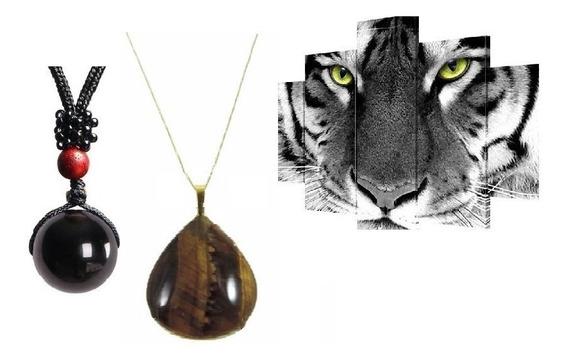 Colar Obsidiana + Colar Olho De Tigre 16mm Rocha Vulcânica