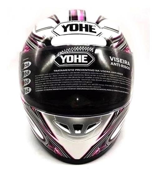 Capacete Moto Feminino Fechado Yohe Street Rosa