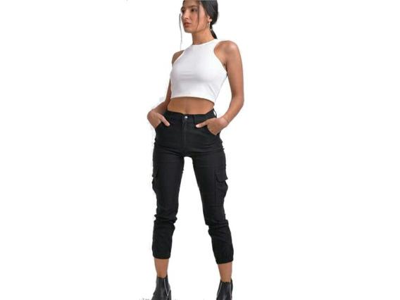 Pantalon Cargo Chupin Mujer Elastizado Jogger Talle 36 Al 46