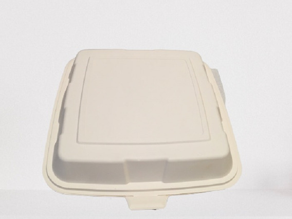 100 Platos Tipo Contenedor Almeja 23x23cm Biodegradable