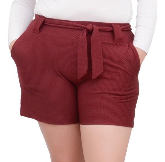 Short Feminino Plus Size Com Forro Cintura Alta Com Cinto
