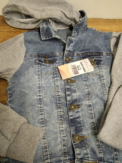 Jaqueta Feminina Jeans Com Moletom E Capuz