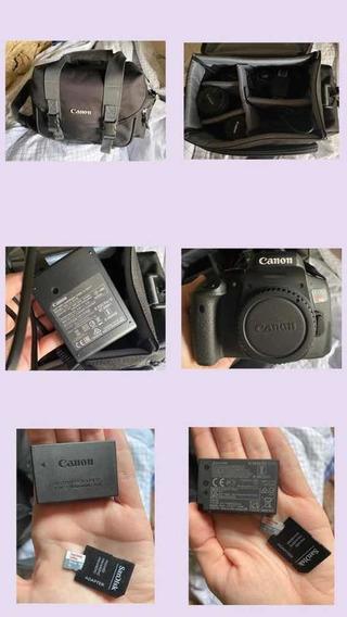 Camera Canon T6i + 3 Lentes + Bolsa