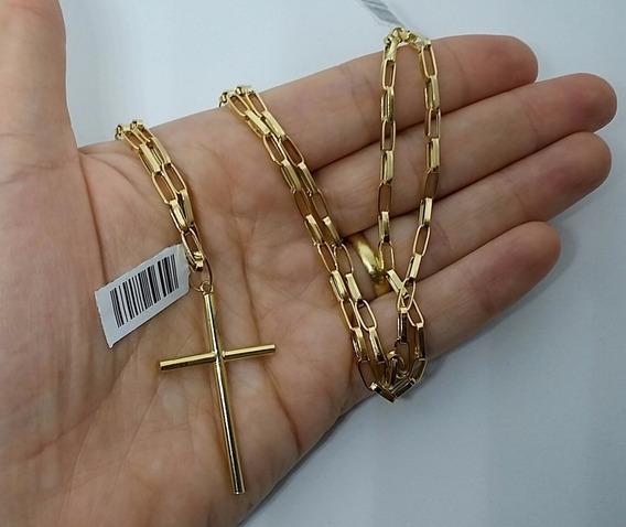 Corrente Masculina Em Ouro 18k E Pingente Cruz 70cm 3mm *