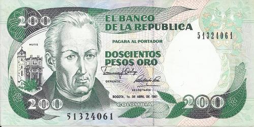 Colombia  200 Pesos 1 Abril 1991
