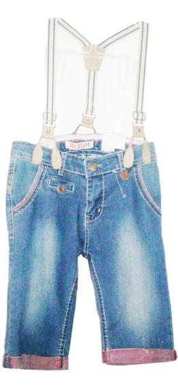 Short Pantalon Corto Mezclilla Desgastada Niño(a) Capri Bermuda Tirantes Talla 8 Oferta $479a