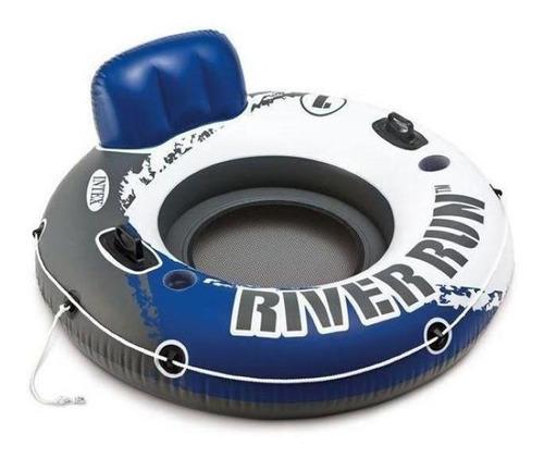 Boia Poltrona Inflável Intex Piscina River Run Azul 135cm