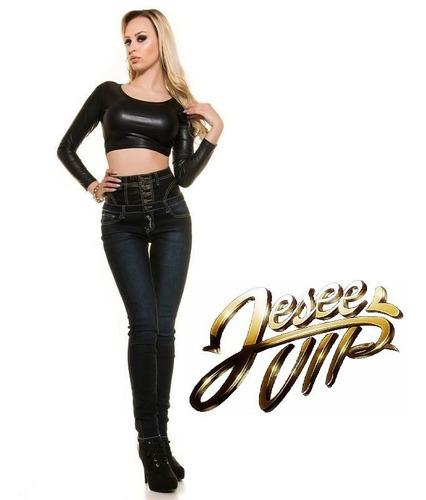 Jeans Koucla Tiro Alto Importado Con Cuero Look!!!!