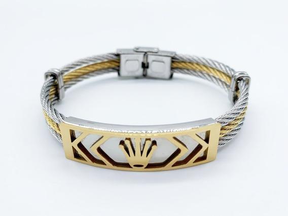 Pulseira Bracelete Aço Ouro 18k Coroa Dourada