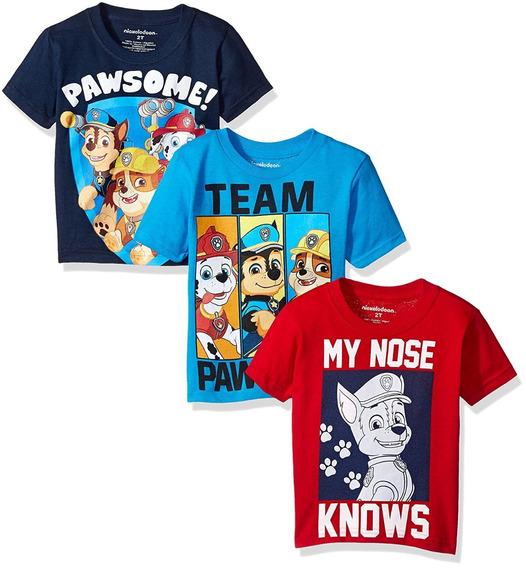 3 Camisetas Para Niños Paw Patrol Nickelodeon 2