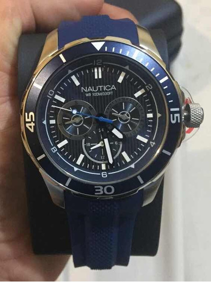 Reloj Náutica Con Caja Metálica Y Correa Texturizada Azul