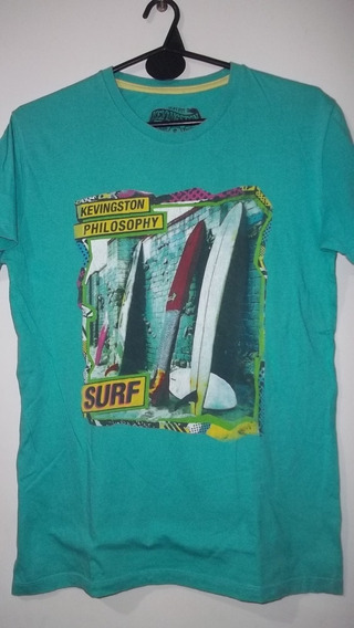 Remera Color Verde Agua De Hombre Talle Small - Kevingston -