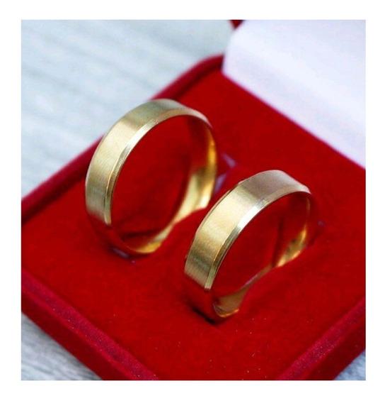 Par De Alianças Casamento Compromisso 6mm Chanfrada Barato