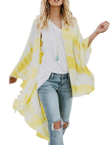 Mujeres Casual Suelto Tie Tinte Impresión Gasa Beachwear Re