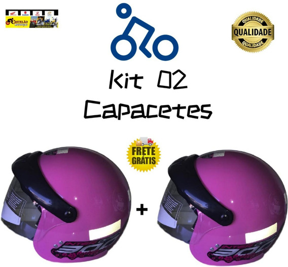 Kit 02 Capacetes Gow Aberto Com Viseira Cores Rosa