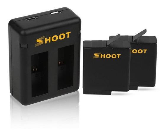Carregador Duplo + 2 Baterias Gopro Hero 5 6 7 Black Shoot