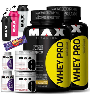 Kit Suplementos 2x Whey Protein 2x Bcaa 2x Creatina Shaker