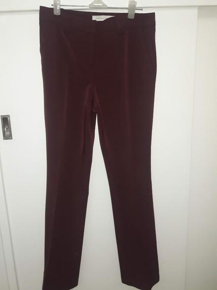 Pantalón De Vestir Bordó Con Bolsillos Talle 38 *usado*