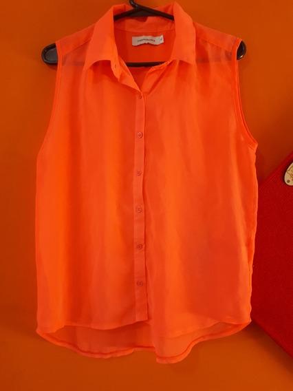 Camisa Gasa Fluor Naranja Talle 42