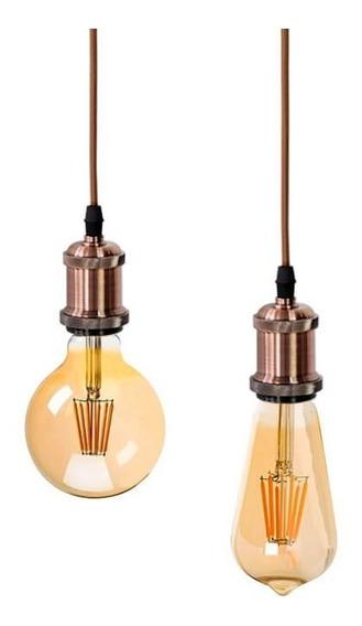 Luminaria Pendente Retro Cobre Lampada Filamento 6w E27