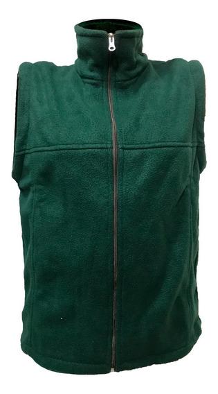 Chaleco Polar Hombre Mujer C/cierre Bolsillos Campera Verde