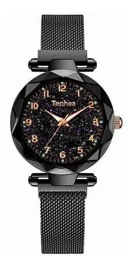 Relógio Luxo Céu Estrelado Fecho De Imã Tephea 3atm