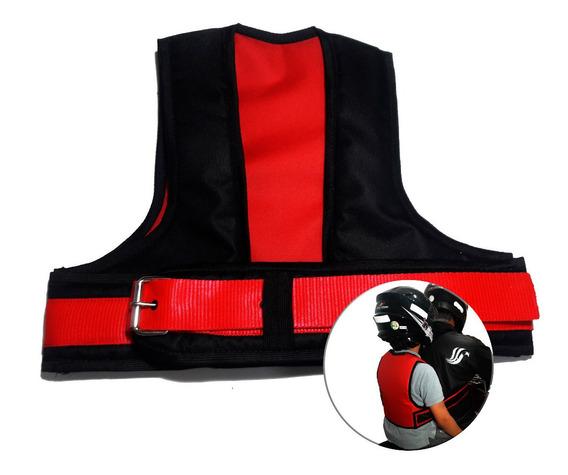 Cinto \ Colete Infantil De Segurança Moto - Vermelho C/ Preto