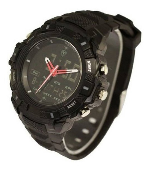 Relógio Tuguir Preto Masculino Analógico E Digital Tg5006