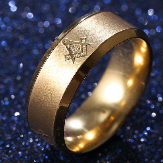 Anel Maçom Maçonaria Dourado Titanium - Tamanho 60